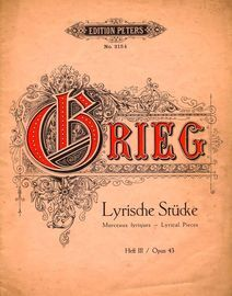 Lyrische Stucke - Heft 3 - Op. 43 - Edition Peters No. 2154