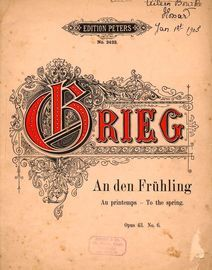 To the Spring (An den Fruhling) - Op. 43 - No. 6 - Edition Peters No. 2422