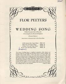 Wedding Song - English-German - Wither thou goest, there will i go also(Wo du hingehst, da will auch ich hingehen) - Edition Peters