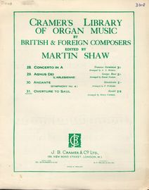 Overture to Saul - Cramer's Library of Organ Music by British and Foreign Composers - Series No. 31