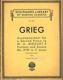 Accomapniment for a Second Piano to W. A. Mozart's Fantasia and Sonata No. XVIII in C minor - K. 475 and 457 - Schirmers Library of Musical Classics V