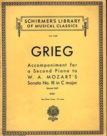 Accompaniment for a Second Piano to W. A. Mozart's Sonata No. III in C Major - K. 545 - Schirmers libary of Musical Classics Vol. 1440