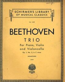Beethoven - Trio in C Minor - For Piano, Violin and Cello - Op. 1, No. 3 - Schirmer's Library of Musical Classics Vol. 1423