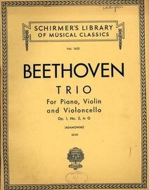 Beethoven - Trio in G Major - For Piano, Violin and Cello - Op. 1, No. 2 - Schirmer's Library of Musical Classics Vol. 1422