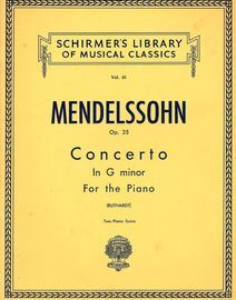 Concerto in G Minor  - Two Piano Score - Op. 25 - Schirmers Library of Musical Classics Vol. 61