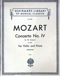Concerto No. IV in D major - For Violin and Piano - K. 218 - Schirmer's Library of Musical Classics Vol. 890