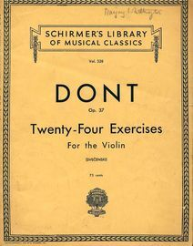 Studies & Exercises, Op. 37 - Preparatory exercises for the violin to the studies of Kreutzer & Rode - Schirmer's Edition No. 328