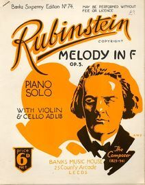 Rubinstein Melody In F - With Violin and Cello ad lib.- Op. 3 - Banks Sixpenny Edition No. 74
