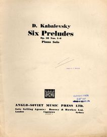 Kabalevsky - Six Preludes - Op. 38, No\'s. 1 - 6 - Piano Solo