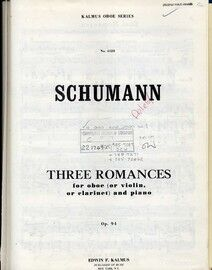 Schumann - Three Romances (Drei Romanzen) for Oboe / Violin / Clarinet and Piano - Op. 94