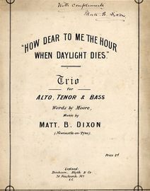 How Dear to me the hour when Daylight Dies - Trio for Alto, Tenor and Bass