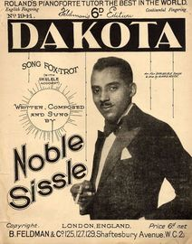 Dakota - Song Fox-Trot - For Piano and Voice with Ukulele chord symbol accompaniment - Written adn Sung by Noble Sissle