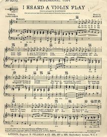 I Heard a Violin Play - Professional Copy - For Piano and Voice wiith Ukuele chord symbols