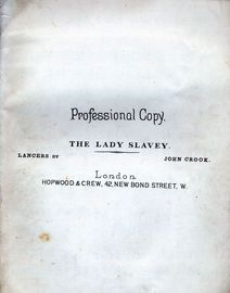 The Lady Slavey Lancers - For Piano Solo - Hopwood and Crew Edition No. 3600