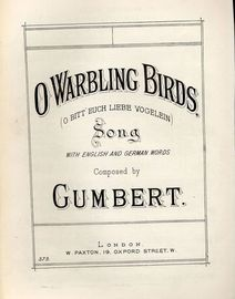 O Warbling Birds (O Bitt Euch Liebe Vogelein) - With English and German words - Paxton edition No. 373