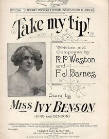 Take my Tip! - As sung by Miss Ivy Benson (King and Benson) - Francis, Day and Hunter Sixpenny Popular Edition No. 1281