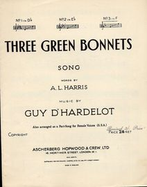 Three Green Bonnets - Song - In the key of F major for high voice