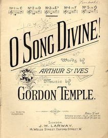 O Song Divine - Song in the key of D major for lower voice