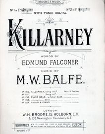 Killarney - Song - In the key of E flat major for lower voice