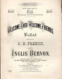 Welcome ever welcome friends - Ballad with Tonic Sol Fa - In the key of A Major for medium voice