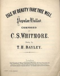 Isle of Beauty Fare Thee Well - Popular Ballad - For Piano and Voice - Musical Bouquet No. 3979