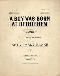 A boy was born at Bethlehem - Song - No. 2 in key of F major -For Piano and Voice