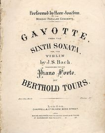 Gavotte from the Sixth Sonata for the Violin - Performed by Herr Joachim at the Monday Popular Concerts