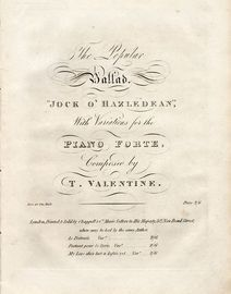 Jock O' Hazledean - With variations for the Piano Forte - For Piano Solo