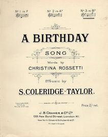 A birthday song - In the key of B flat major for high voice