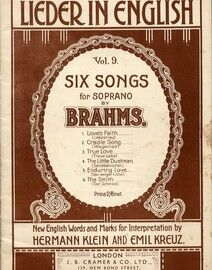 Brahms - Six Songs for Soprano - Volume 9 Metzler's Mastersongs Lieder in English