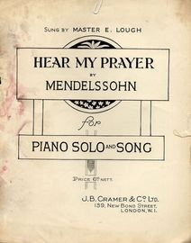Hear My Prayer -  Piano solo and song - As sung by Master E Lough