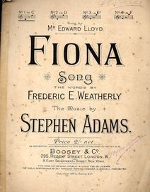 Fiona - Song in the Key of C Major - For low voice - Sung originally by Mr. Edward Lloyd