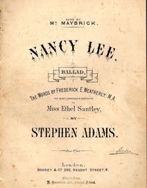 Nancy Lee - Ballad - In the key of E flat major for high voice - Sung by Mr. Maybrick