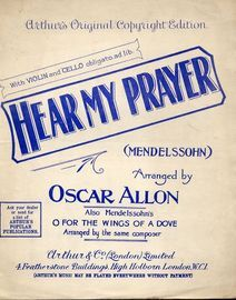 Hear My Prayer -  Piano solo and song - With Violin & Cello obligato ad Lib