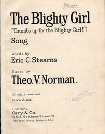 The Blighty Girl (Thumbs up for the Blighty Girl!!) - Song - For Piano and Voice