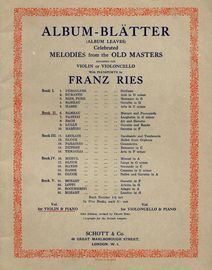 Album Blatter (Album Leaves) - Book II -  Celebrated Melodies from the Old masters - Arranged for Violin or Violoncello with Pianoforte