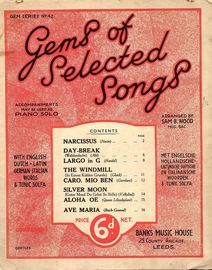 Gems of Selected Songs - Accompaniments may be used as Piano Solo - Gem Series No. 42 - With English, Dutch, Latin, German, and Italian Words and Toni