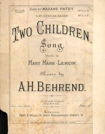 Two children - Song - In the key of G major for low voice - As sung by Madame Patey