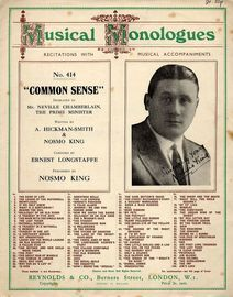 Common Sense - Dedicated to Mr Neville Chamberlain The Prime Minister - Performed by Nosmo King - For Piano and Voice