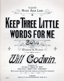 Keep three little words for me - Song sung by Ada Lee