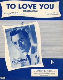 To Love You (Italia Mia) - Recorded by Vic Damone on Oriole Records