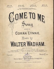 Come to Me - Song - In the key of D major for lower voice