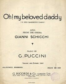 Oh My beloved Daddy (O mio babbino caro ) Key of A flat major Italian & English text - Aria from the opera Gianni Schicchi