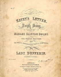 Katey\'s letter - Irish Song - Key of E flat - As sung by and signed by Madame Sainton Dolby