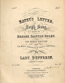 Katey\'s letter - Irish Song - Key of G Major  - As sung by and signed by Madame Sainton Dolby