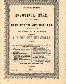 Beautiful Star and Jeanie with the Light Brown Hair - Two Songs with Choruses - As sung by The Christy Minstrels - The Musical Treasury Series No. 961
