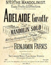 Adelaide - Gavotte for Mandolin Solo with easy accompaniment for Piano - The Mandolinist series No. 19