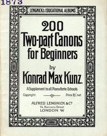 200 Two Part Canons for Beginners - A Supplement to All Pianoforte Schools - Lengnicks Educational Albums