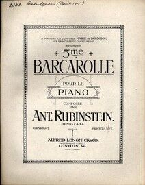 5me Barcarolle - For Piano - Op. 93, CAH. 4