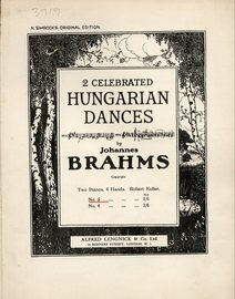 Brahms - Hungarian Dance No. 5 - For 2 Pianos - N. Simrock's Original Edition